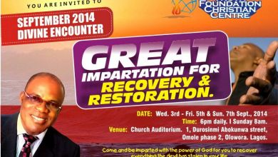 Photo of T.F.C.C Presents Sept 2014 DIVINE ENCOUNTER Themed 'GREAT IMPARTATION FOR RECOVERY AND RESTORATION'