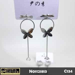 C134 Anting Tusuk Model Pita Round Butterfly Circle 6,5cm Earings