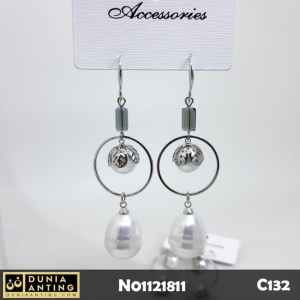 C132 Anting Gantung Platinum Double Mutiara 7cm Earings White Pearl