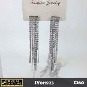 C160 Anting Tusuk Permata Kristal Rumbai Panjang Long Earrings 8cm