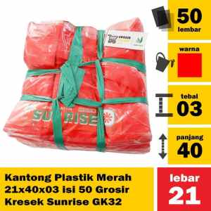 Kantong Plastik Merah 21x40x03 isi 50 Grosir Kresek Sunrise GK32