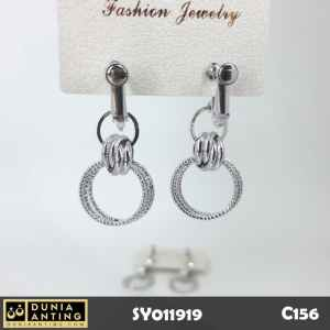 C156 Anting Tusuk Model Ring Gantung Double Round Silver Platinum 4cm