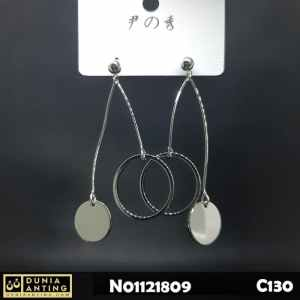 C130 Anting Tusuk Platinum Model Double Circle Round Earing 6,5cm