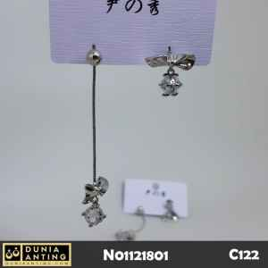 C122 Anting Anting Earing Trend LongShort Silver Platinum Mata Crystal