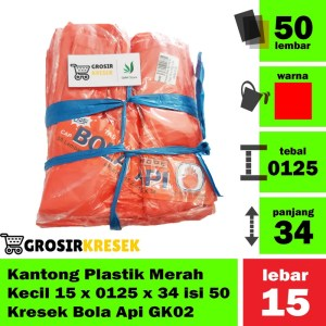 Kantong Plastik Kresrek Merah Kecil HDPE Size 15x0125x34 Kode G132