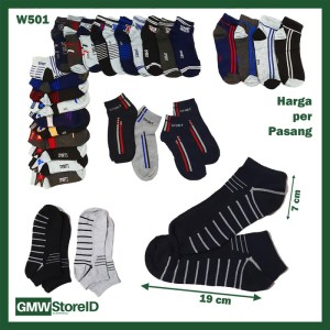 W501 Kaos Kaki Olahraga Laki Men Sport Pendek Motif Garis Murah A09
