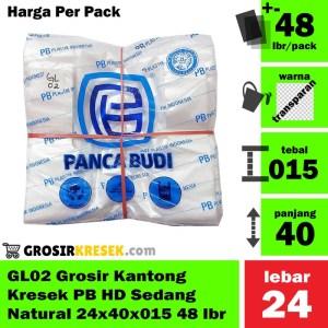 GL02 Grosir Kantong Kresek PB HD Sedang Natural 24x40x015 isi 48 lbr