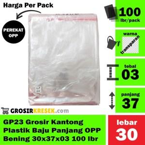 GP23 Grosir Kantong Plastik Baju Panjang OPP Bening 30x37x03 100 lbr