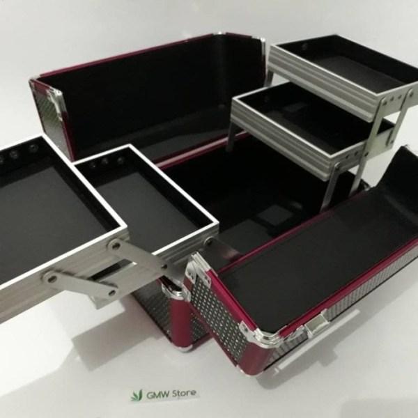 Beauty Case Kotak Make Up Hitam Blink Blink Pinggiran Pink Keren N829