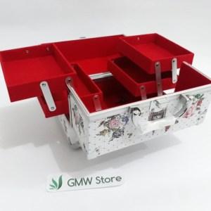 Beauty Case Kotak Make Up Ukuran Sedang Motif Bunga dan Kupu 600A W145