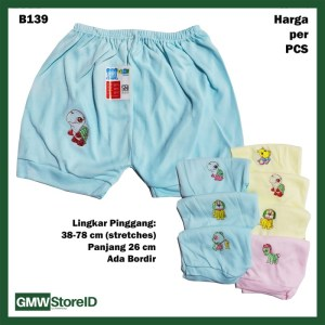 B139 Celana Pendek Bayi Warna Bordir Motif Unisex Baby Short Halus SNI