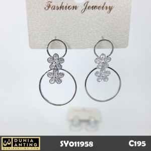 C195 Perhiasan Anting Bunga Double Circle Flower Silver Platinum 3,5cm