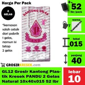 GL12 Grosir Kantong Kresek PANDU 2 Gelas Natural 10x40x015 52 lbr