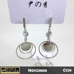 C129 Anting Tusuk Model Triple Round Earings Mata Kristal Panjang 5cm