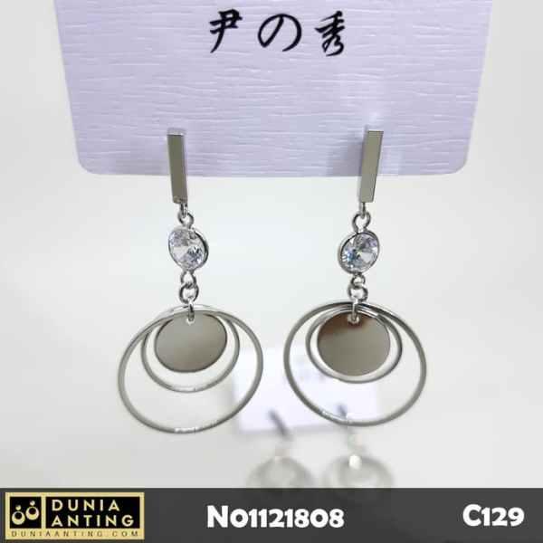 C129 Anting Tusuk Model Triple Round Earings Mata Kristal Panjang 5cm