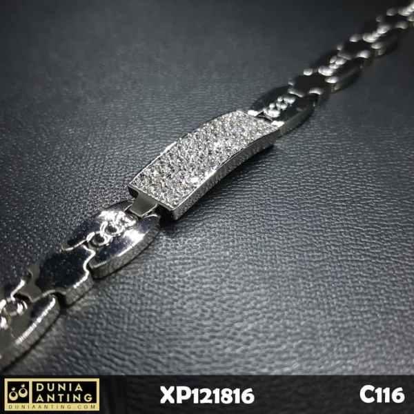 C116 Gelang Rantai Mata Kotak Persegi Besar Platinum Imitasi Bracelet