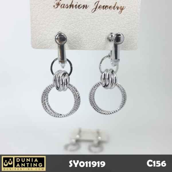 C156 Anting Tusuk Model Ring Gantung Double Round Silver Platinum 4cm