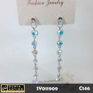 C146 Anting Seven Gems Swarovski Platinum Silver Long Earings 6,5cm