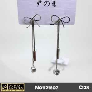 C128 Anting Tusuk Model Pita Rantai 6,5 cm Mata Kristal Crystal Earing