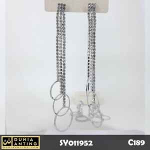 C189 Anting Panjang Rumbai Triple Silver Chain Circle Swarovski 10cm