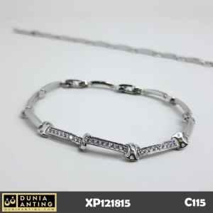 C115 Gelang Rantai Silver Bracelet Platinum Triple Square Eyes Imitasi