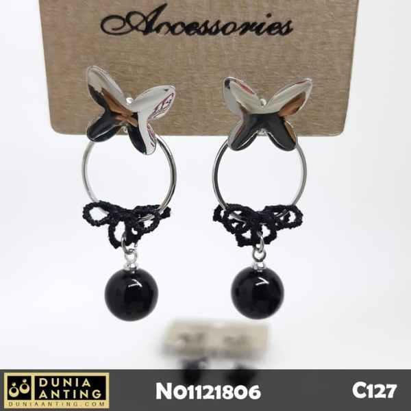 C127 Anting Tusuk Round Model Permata Hitam Black Gem Earings