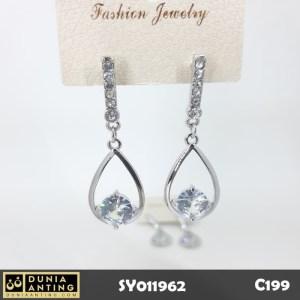 C199 Anting Tusuk Gantung Oval Swarovski Crystal Silver Platinum 5cm