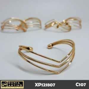 C107 Gelang Triple Love Lapis Tiga Cinta Gold Emas 18K Imitasi