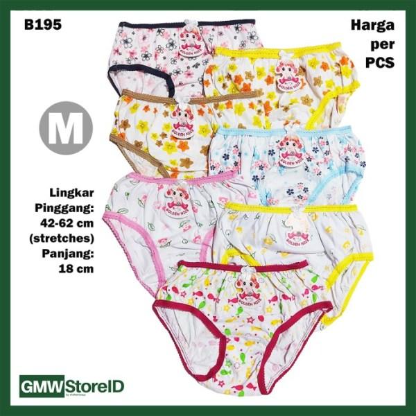 B195 CD Cewek Bayi M Putih Sablon Motif Celana Dalam Baby Pants GN SNI