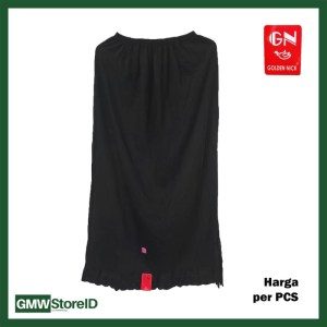 W771 Androk Wanita Rok Panjang Hitam Polos Free Size Katun Renda GN