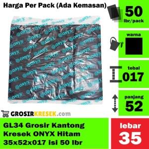 GL34 Grosir Kantong Kresek ONYX Hitam 35x52x017 Murah isi 50 lbr