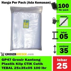 GP47 Grosir Kantong Plastik Klip Merk CTIK TEBAL 25x35x05 isi 100 lbr