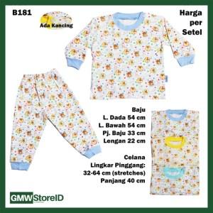 B181 Setelan Bayi Baju Lengan Celana Panjang Putih Warna Beruang Tebal