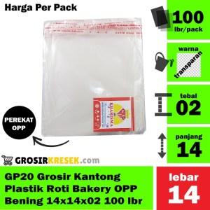 GP20 Grosir Kantong Plastik Roti Bakery OPP Bening 14x14x02 100 lbr