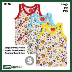 B170 Baju Buntung Bayi Cowok S Singlet Laki Brown Bear Baby Agree SNI