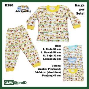 B180 Setelan Bayi Star Bears Baju Lengan Celana Panjang Putih Warna