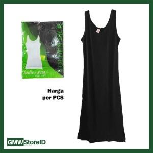 Long Dress Wanita Singlet Terusan Warna Polos Katun Underwear GN F62