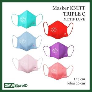 W756 Masker Knitt Motif Love Hati Premium Mask Anti Debu Tebal Warna