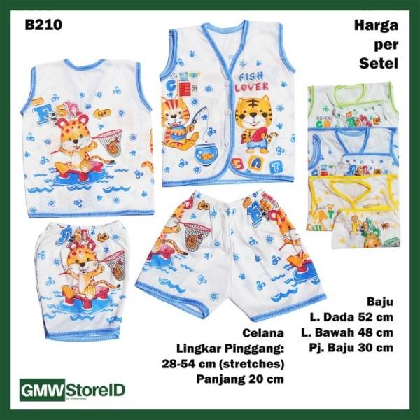 B210 Setelan Baju Buntung Celana Pendek Bayi Laki Putih Murah SNI