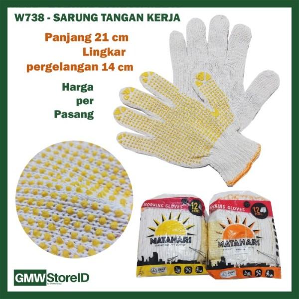 Sarung Tangan Kerja Matahari Antislip Working Glove Putih Murah W738