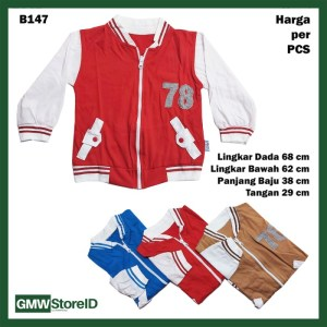 B147 Jaket Bayi Cowok Motif Sport Olahraga Warna Laki-Laki Baby Jacket