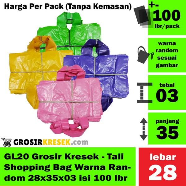 GL20 Grosir Kantong Kresek Shopping Bag Tali Random 28x35x03 100 lbr