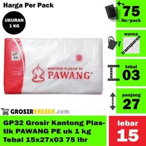 GP32 Grosir Kantong Plastik PAWANG PE uk 1 kg Tebal 15x27x03 75 lbr
