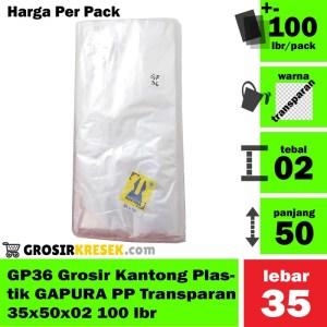GP36 Grosir Kantong Plastik GAPURA PP Transparan 35x50x02 100 lbr