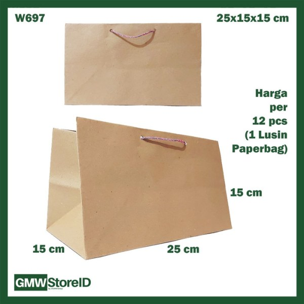 W697 Paperbag Coklat Polos Sedang Goodiebag Paper Panjang 25x15x15cm