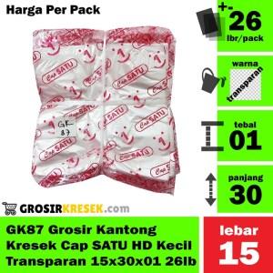 GK87 Grosir Kantong Kresek Cap SATU HD Kecil Transparan 15x30x01 26lbr