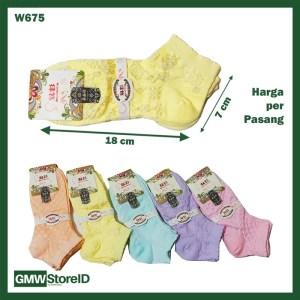 W675 Kaos Kaki Wanita Women Socks Cewek Ukuran Pendek Hiasan Renda E32