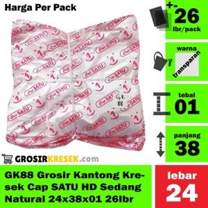 GK88 Grosir Kantong Kresek Cap SATU HD Sedang Natural 24x38x01 26lbr