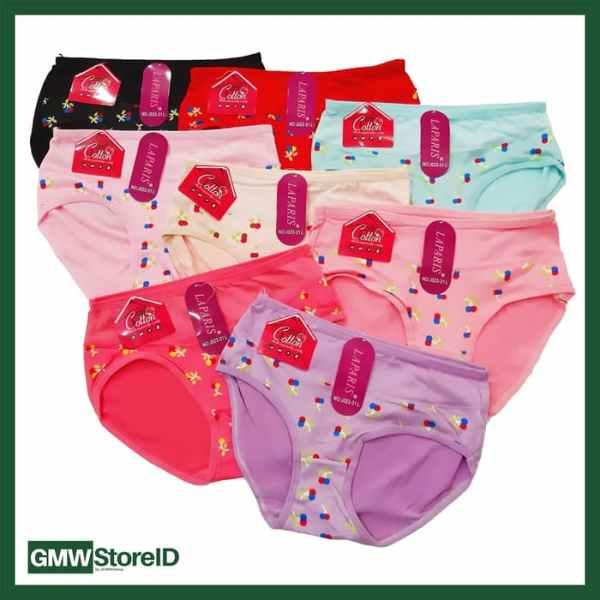 W606 Celana Dalam Wanita Women Underwear Warna Warni Motif Simple J23