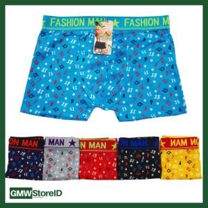 W550 Boxer Cowok Celana Dalam Pria Laki Motif Warna Random Tipe I5